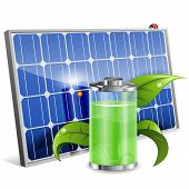 image of solar battery  - Green Energy Concept with Solar Panel Battery and Young Sprout vector isolated on white background - JPG