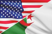 Series Of Ruffled Flags. Usa And Algeria.