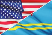 Series Of Ruffled Flags. Usa And Aruba.