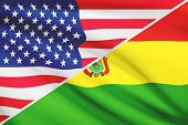 Series Of Ruffled Flags. Usa And Bolivia.