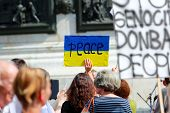 Protest Manifestation Against War In Ukraine On Republic Square Of Paris On Aug. 02. 2014 In Paris,
