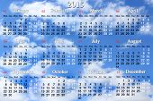 Calendar For 2015 Year On The Clouds Background