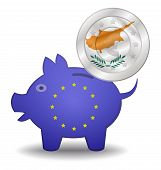 Piggy Bank And Euro European Cyprus