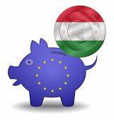 Piggy Bank And Euro European Hungary