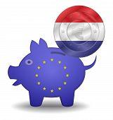 Piggy Bank And Euro European Netherlands
