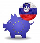Piggy Bank And Euro European Slovenia