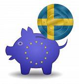 Piggy Bank And Euro European Sweden