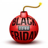 pic of time-bomb  - Red Bomb About To Blast with Black Friday sales tag and time counter - JPG