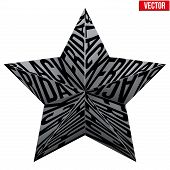 Star symbol with letters Black Friday sales tag.