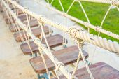 Group Knot Of Rope In Wooden Bridge.selective Focus