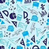 Mathematics Icons Blue Seamless Pattern Eps10