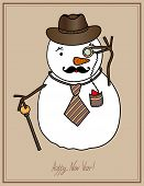 original hipster snowman in a hat, tie, mustache with monocle, c