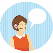 Girl Operator In Headphones On Blue Background With Stripes, Speech Bubble. Vector