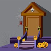 House decoration with pumpkin for Halloween night