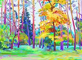 original digital painting of autumn landscape, vector version, a