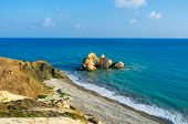 image of saracen  - The cozy beach next to the Aphrodite birthplace with the Saracen rock in the sea Paphos Cyprus - JPG