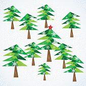 Green Christmas Fir Trees Background.