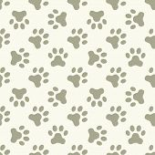 image of paws  - Cat or dog paw seamless pattern  - JPG