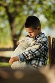 little boy with lamb
