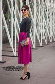 Woman Outside Jil Sander Fashion Shows Building For Milan Women's Fashion Week 2014