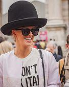 Woman Outside Cavalli Fashion Shows Building For Milan Women's Fashion Week 2014
