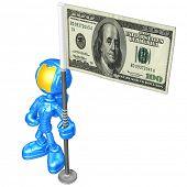 Mini Astronaut With Money Flag