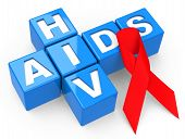 stock photo of hiv  - 3d generated picture about hiv and aids - JPG