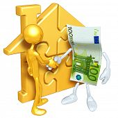 Gold Guy With Gold Home Puzzle And Money