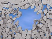 Cracked Earth Abstract Background On Blue Sky