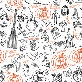 picture of drow  - Halloween doodles icons and text in seamless pattern or background - JPG