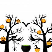 trees with pumpkins bat and cat