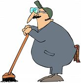 image of janitor  - This illustration depicts a man in coveralls leaning on a floor broom - JPG
