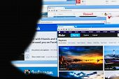 Photo Of Pinterest, Twitter, Facebook, Google+, Linkedin, Flickr And Instagram Homepage On A Monitor