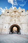 Scenic view of famous ancient arch of st mary in Burgos Spain