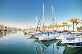 Scenic view of some Yachts in Marina port at dusk in Benalmadena Malaga Spain on April 29 2014.