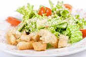 foto of caesar salad  - Caesar salad dish closeup isolated on a white background - JPG