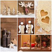 Collage of Christmas photos and decorations on warm brown background.