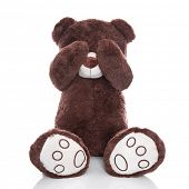Lonely teddy bear covering eyes isolated on white background - sadness or problems concept
