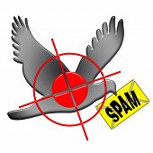 picture of no spamming  - Anti spam illustration with aiming and shooting at the dark spam postal dove isolated over white background - JPG
