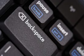 picture of backspace  - close up of a backspace key from a black computer keyboard - JPG