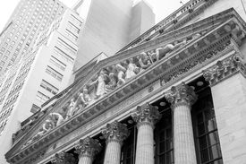 stock photo of nyse  - Entrance of the New York Stock Exchange in Wall Street - JPG