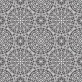 Black and White Circular Floral Seamless Background from Decorative Hand Drawn Line Dots Flowers