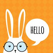 picture of cartoon character  - Greeting card with with white Easter rabbit - JPG