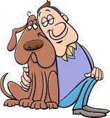 Dog With Owner Cartoon Illustration