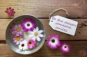 Silver Bowl With Cosmea Blossoms With Life Quote Be The Reason Someone Smiles