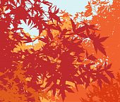 Colorful landscape of autumn foliage - Vector illustration