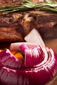 Grilled Red Onion And Meat