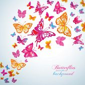 Summer background with watercolor butterflies. Vector.