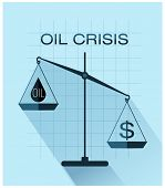 Classic scales of justice with drop of oil and dollar sign, Oil crisis flat design.