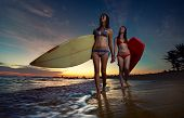 Two young ladies surfers walking with surf boards along the beach at sunset